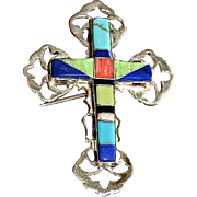 Southwestern Sterling Silver Inlaid Gemstone Cross Pendant / Brooch