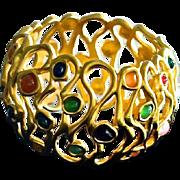 Vintage Gripoix Glass Bangle Bracelet 10K Gold Plate