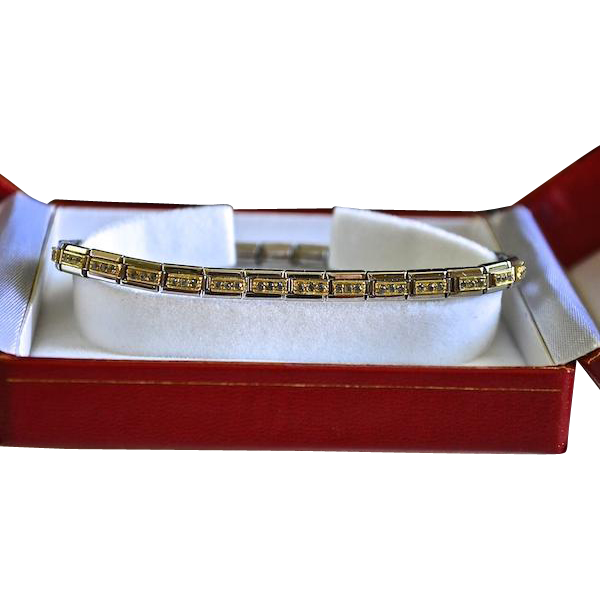 Nomination Designer Stainless Steel, 18K Gold & Crystal Link Tennis Bracelet