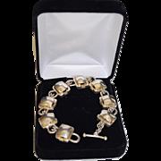 Designer Chunky Sterling Silver Geometric Link Bracelet