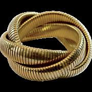 Vintage Omega Snake Link Knotted Gold Tone Metal Bracelet