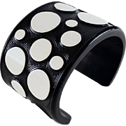 Retro Black White Polka Dot Resin Bracelet JMP