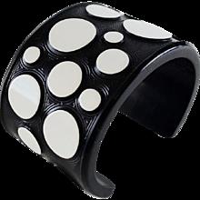 Retro Black White Polka Dot Resin Bracelet JMP