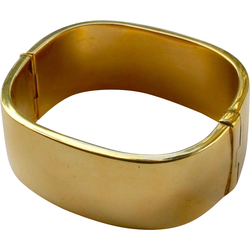 Italy High Polished Gold Plate Cuff Bracelet Signed