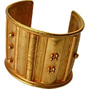 Paris Etruscan Style Embellished Gold Plate Wide Cuff Bracelet - 50% Off