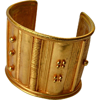 Paris Etruscan Style Embellished Gold Plate Wide Cuff Bracelet