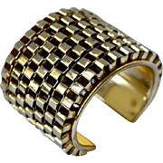 Diva Honeycomb Textured Gold Tone 2.5 Inch Cuff Bracelet