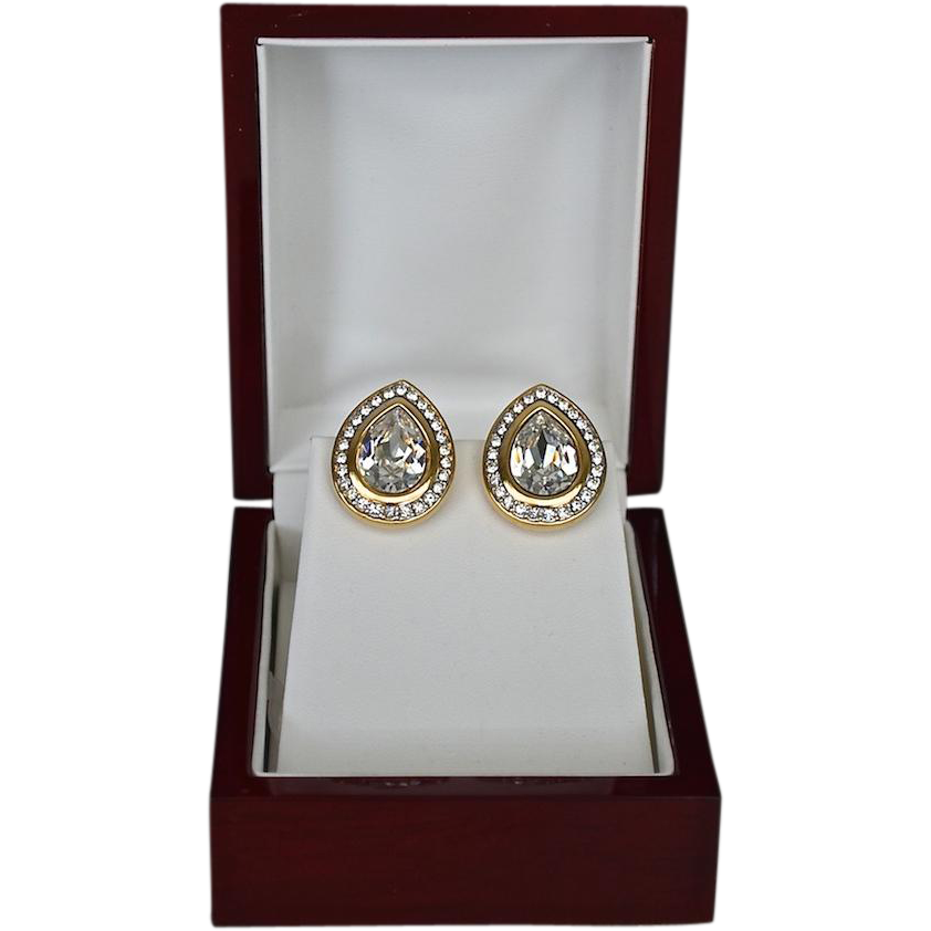 Gorgeous 18K Gold Plate Marquis Shaped Swarovski Crystal Earrings by SAL