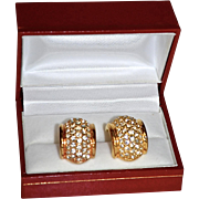 Encrusted 18K Gold Plate Swarovski Crystal Curved Huggie Style Earrings