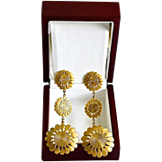 Diva 14K Gold Plate Sunflower Chandelier Pierced Earrings