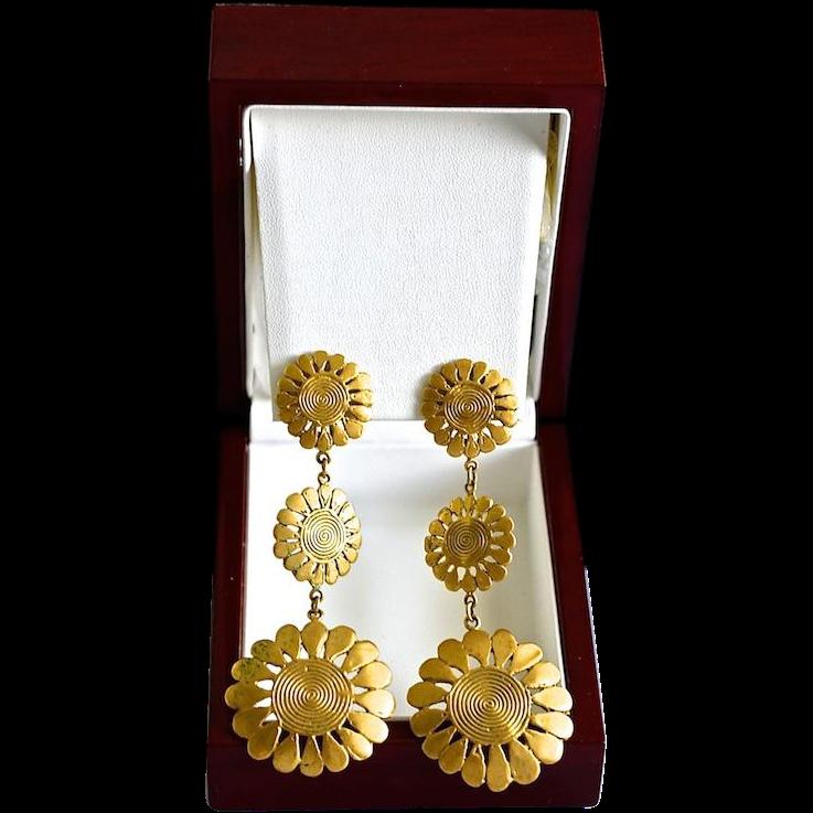 Diva 14K Gold Plate Sunflower Chandelier Pierced Earrings