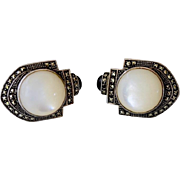 Vintage Deco Style Marcasite Mother of Pearl Pierced Earrings