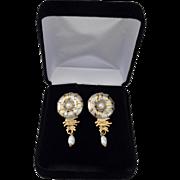 Artisan Sterling 12K Gold Plate Deco Style Dangle Earrings Signed