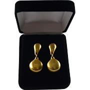 Robert Lee Morris 18K Gold Plate Polished Matte Clip Drop Earrings