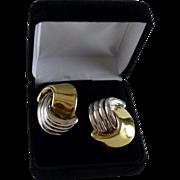 Custom artisan Israeli sterling 24K Electro-Form Pierced Earrings