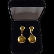 Robert Lee Morris 18K Gold Plate Polished Matte Clip Drop Earrings