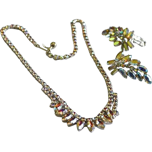 Arora Borelias Faceted Rhinestone Necklace & Earrings by B.DAVID