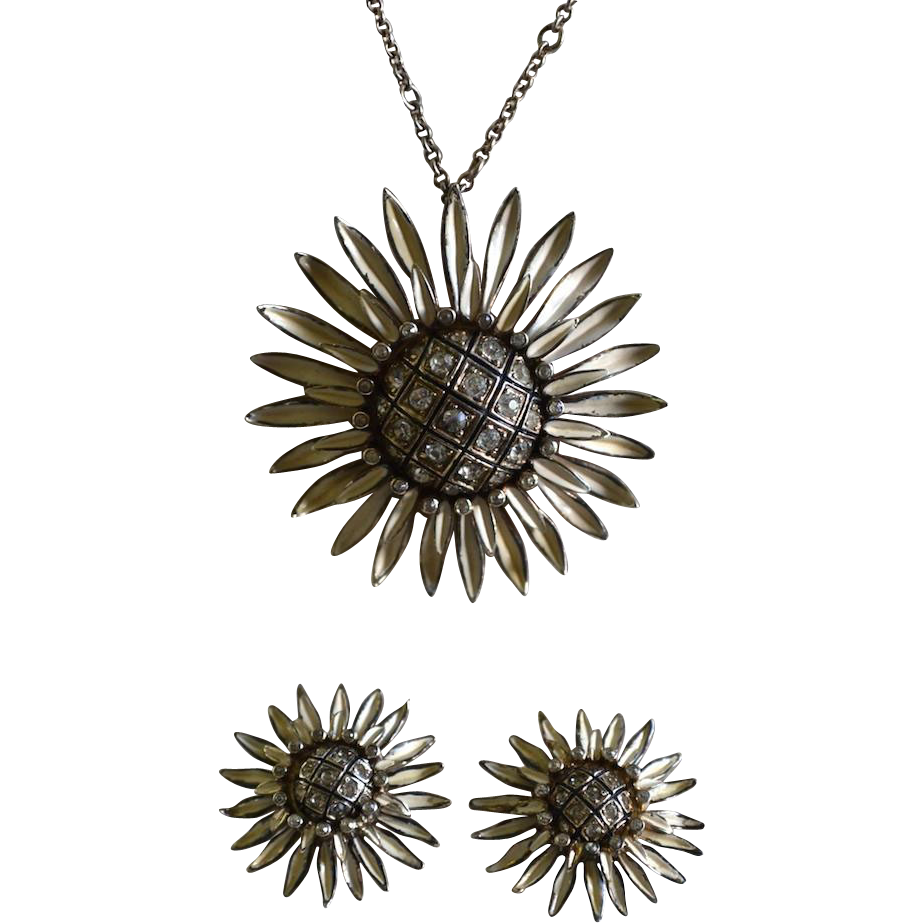 Nettie Rosenstein Sterling Enamel Sunflower Pendant Necklace Set