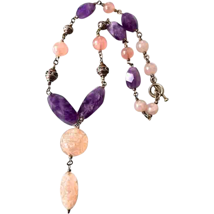 Vintage Chinese Amethyst Rose Quartz Glass Pendant Necklace