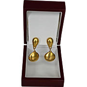 ROBERT LEE MORRIS stunning 18K Gold Plate Polished Matte Earring Drops.