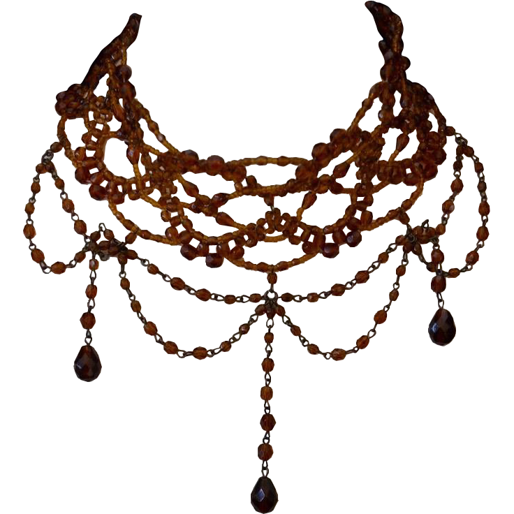 Amber Czeh Glass Faceted Lace Fringe Necklace