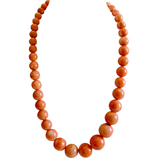 Extra Large Chinese Salmon Coral Beaded Necklace Signed DTR