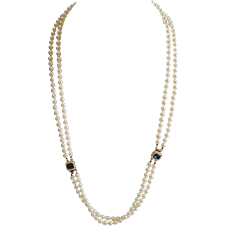 Double Strand Glass Pearl Opera Length Necklace Detachable Bracelet