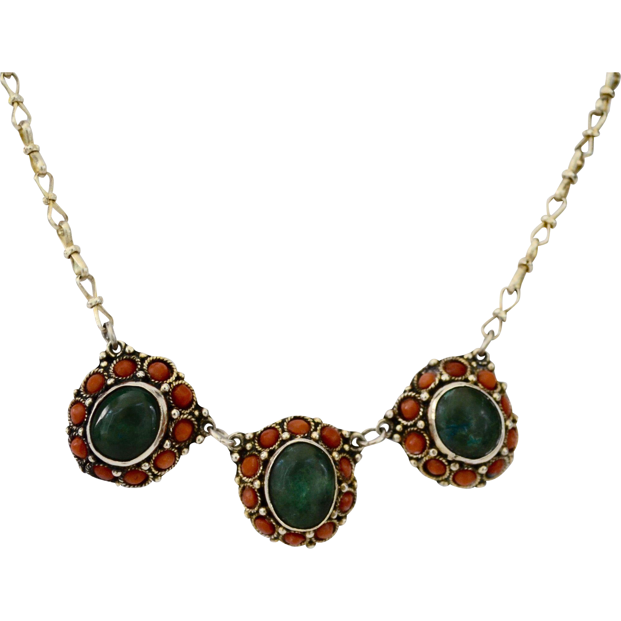 Israel Sterling Victorian Style Coral Malachite Medallion Necklace