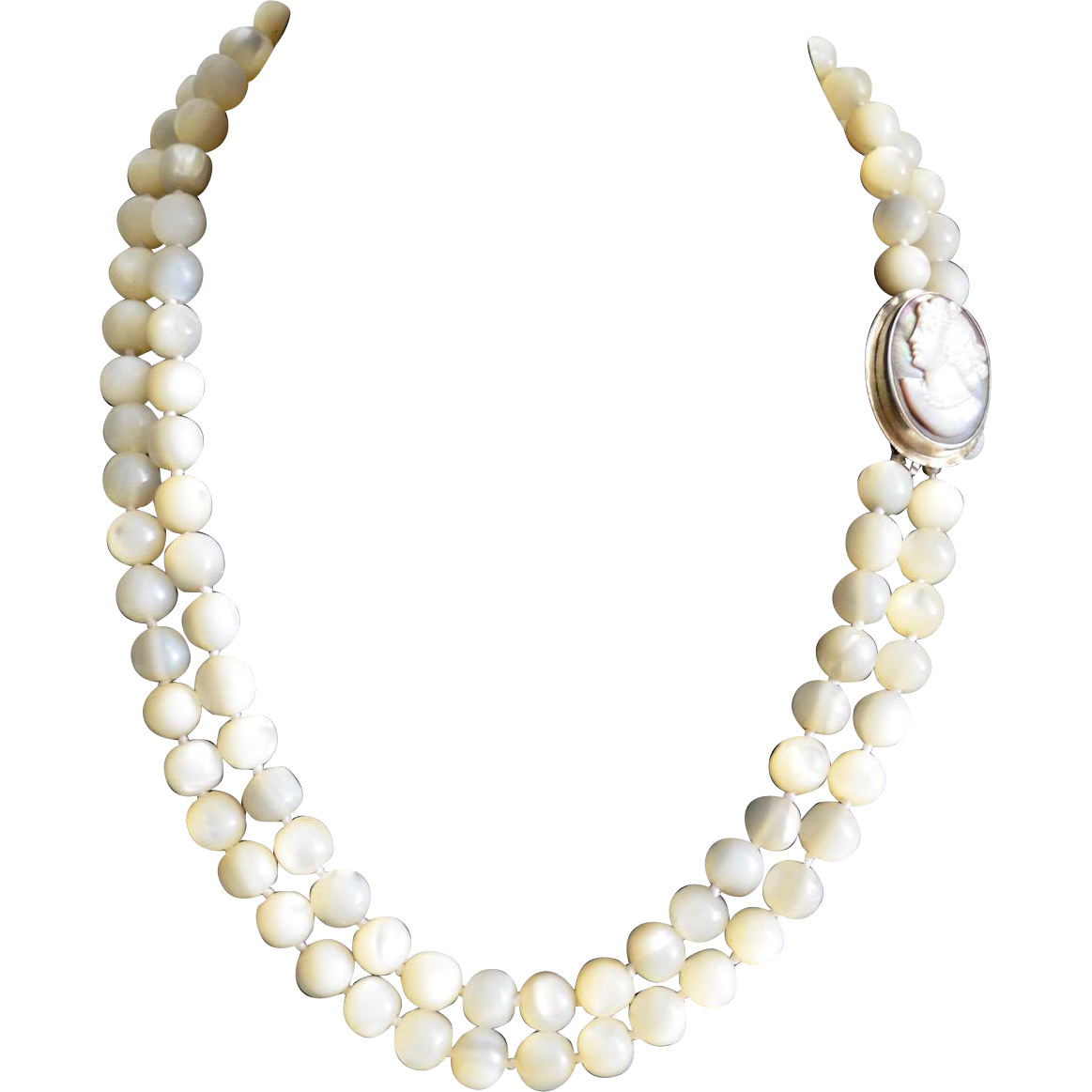 Vintage Double Strand Mother Of Pearl Polished Bead Cameo Necklace