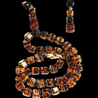 Crown Trafari Vintage Faux Tortoise Glass Beaded Necklace / Earrings