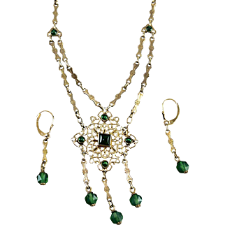 French Art Deco Gilt Silver Filigree Emerald Glass Lavaliere Necklace/ Earrings