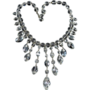 50's Faceted Austrian Aura Borealis Crystal Fringe Necklace