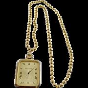 Modernist 10K Gold Plate  DeJuno Quartz Pendant Watch  Bead Chain