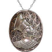 Elaborate Sterling Silver Filigree Metalwork Portrait Pendant Necklace