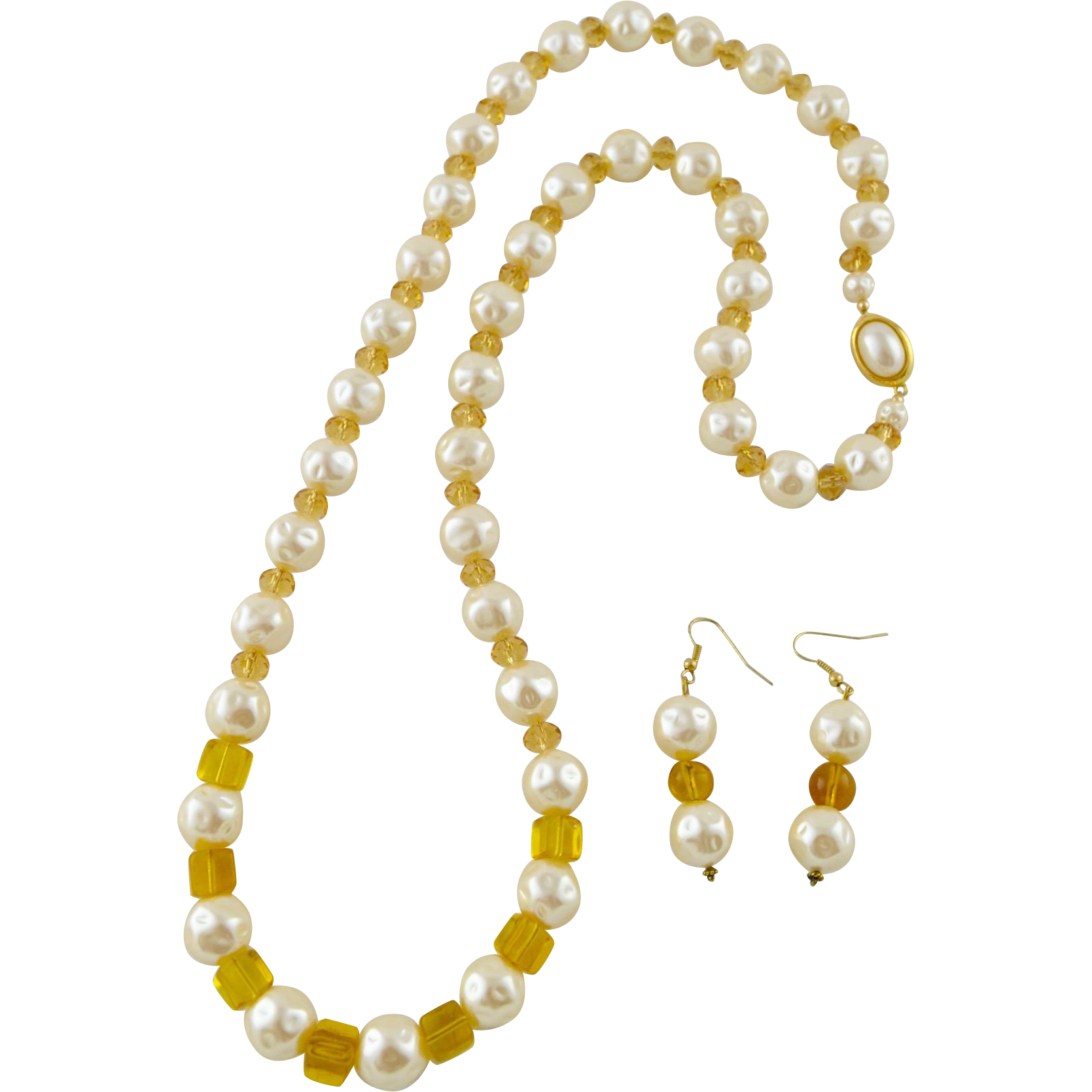 Elegant Large Baroque Sumulated Pearls / Amber Crystal Necklace & Earrings