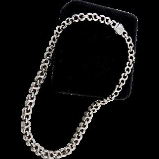 Italian Sterling Silver Heavy Double Loop Open Chain Necklace