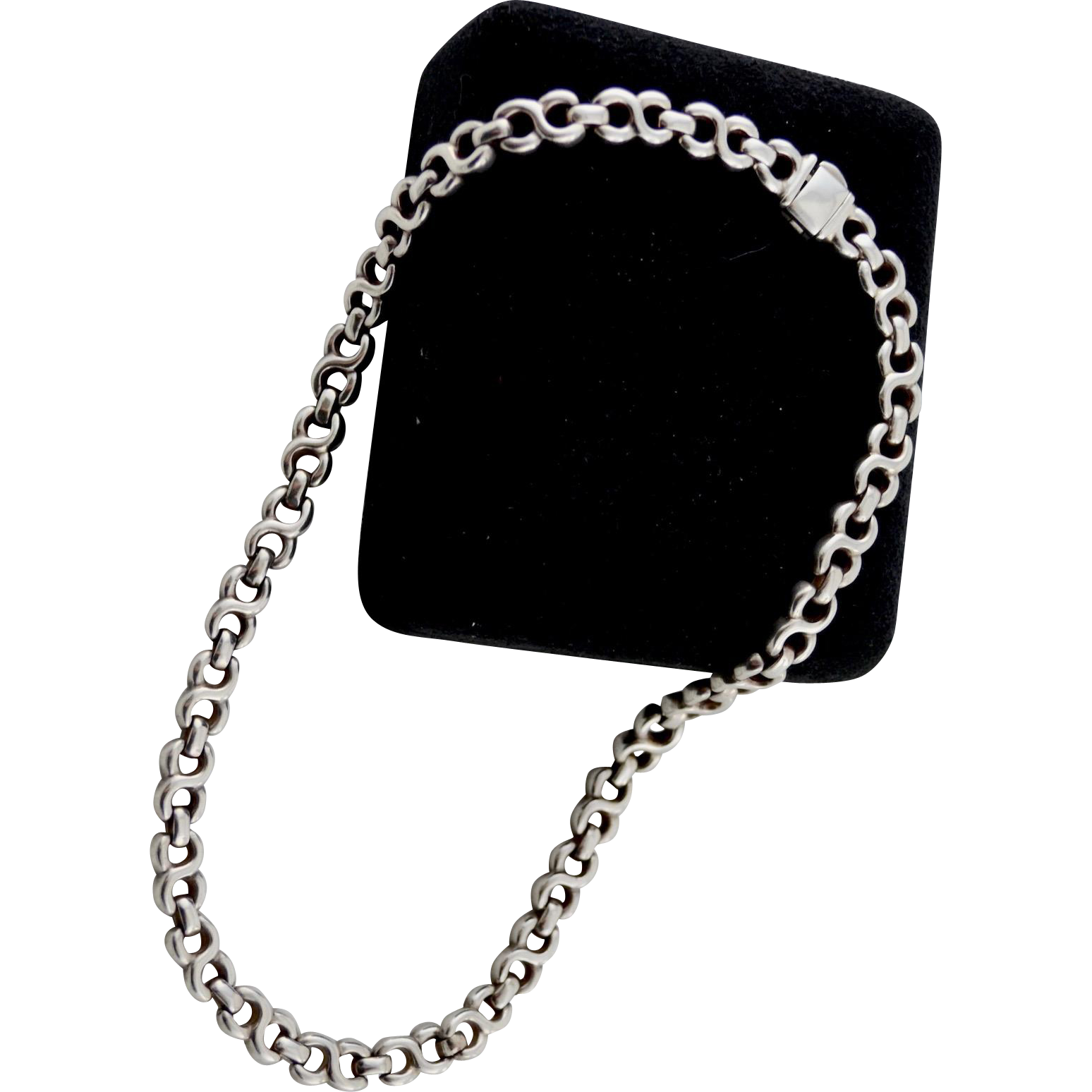 Italian Sterling Silver Heavy Double Loop Open Chain Necklace