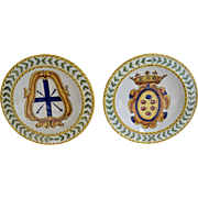 Italy Pair Polychrome Overglaze Hand Painted Ceramic Plates Signed #