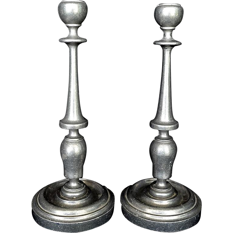 Classic English / American Pewter Candlesticks