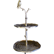 Decorative Metalware Cast Iron Cake / Dessert Stand with Bird