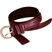 Designer Coach Burgundy Red Leather Belt