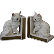 "Charming Lefton White Porcelain ""Little Kitty"" Bookends"