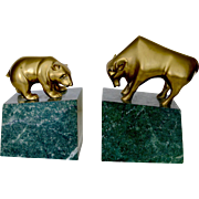 Wall Street Brass Marble Bull & Bear Bookends