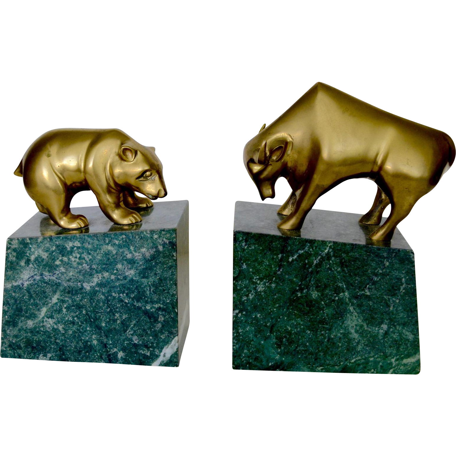 Wall Street Brass Marble Bull Bear Bookends From Melange