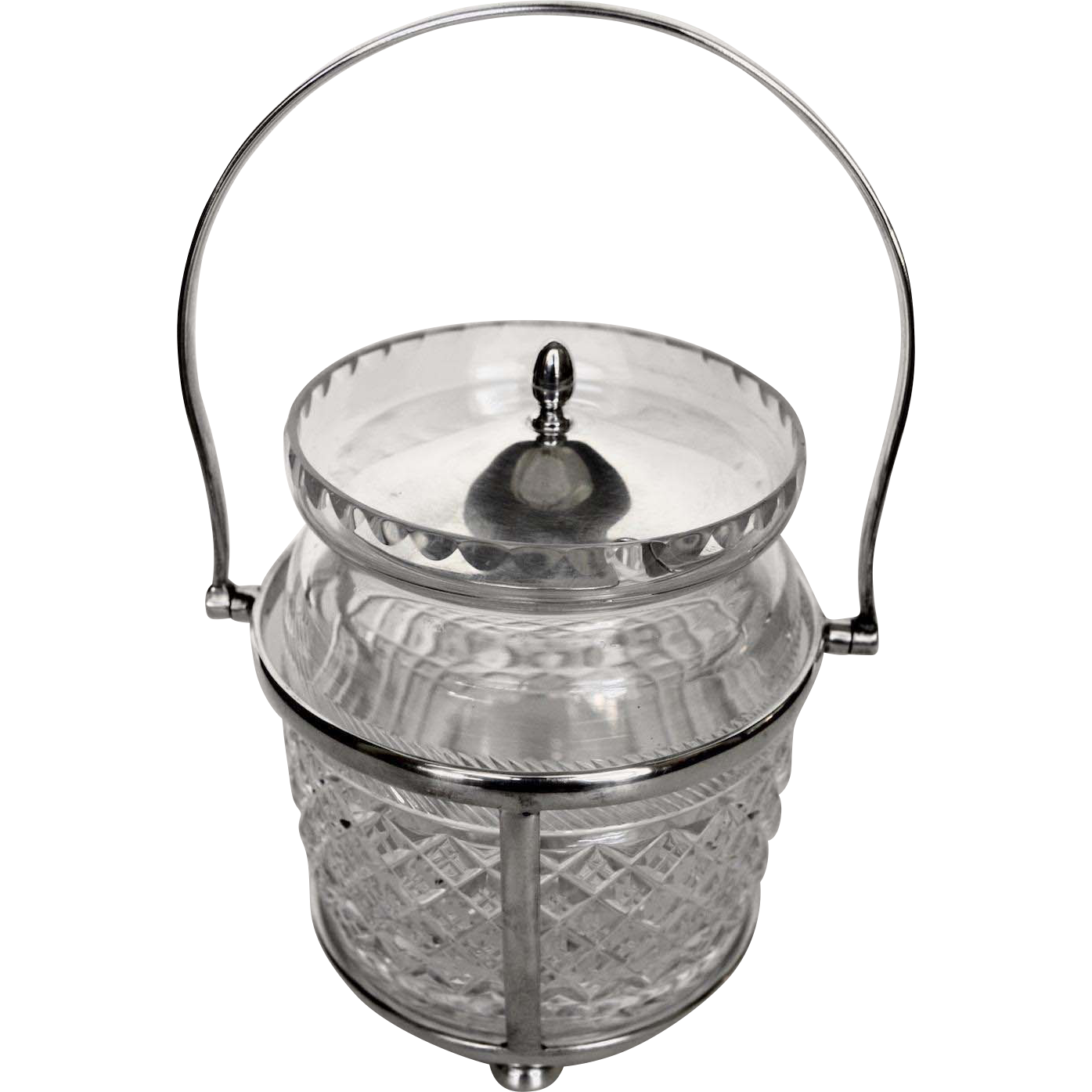 English Crystal Silverplate Pickle Jar Caddy & Fork