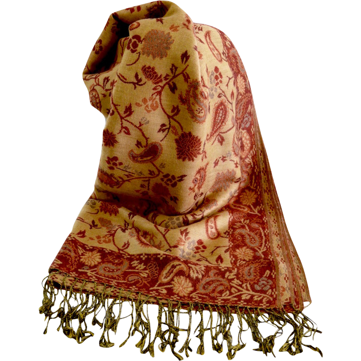 Vintage Pashmina Cashmere Silk Floral Paisley Scarf / Shawl