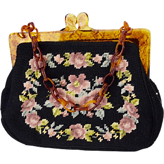 1940's  Needlepoint Hand Stitched Handbag With Bakelite Double Chain Strap