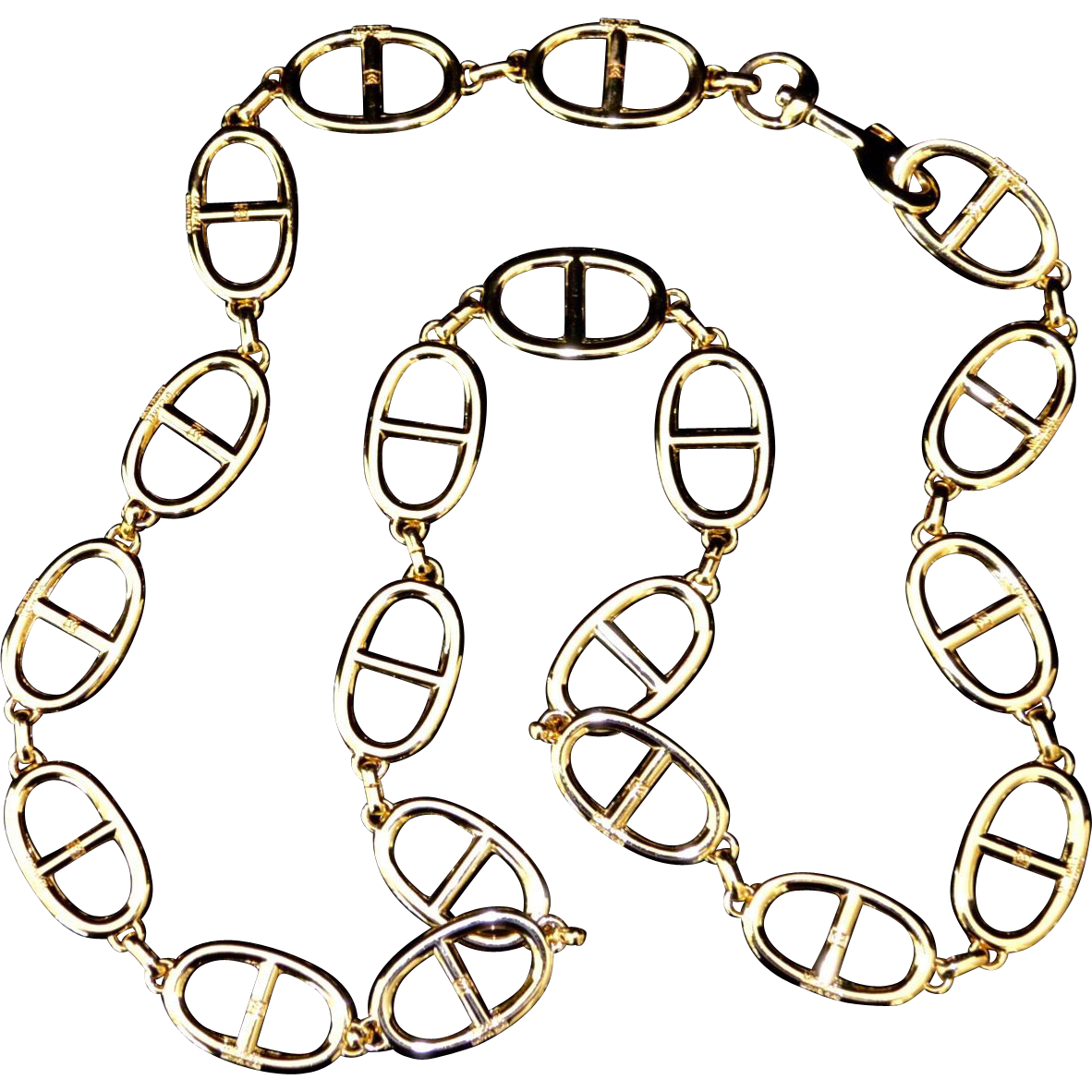 Harness Chain Gold Tone Link Designer Belt One Size