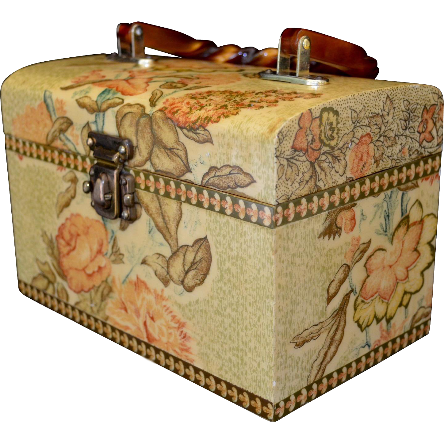 English Decoupage Floral Lunch Box Style Footed Handbag