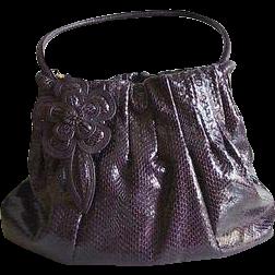 Designer Brighton Aubergene Faux Snake Skin Handbag